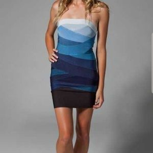 Herve Leger ombre blue strapless dress xs